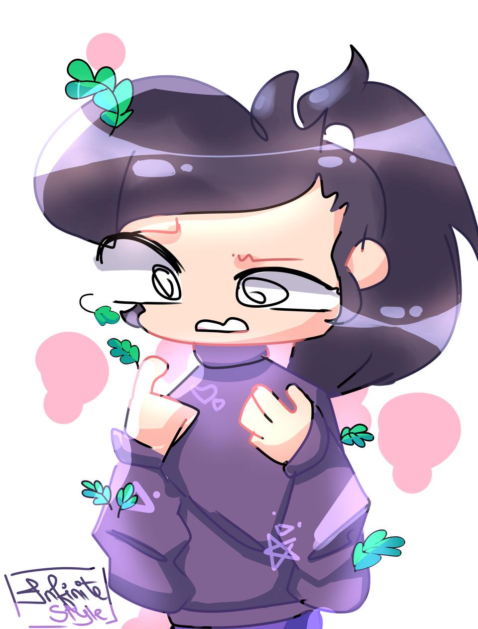 trying mint mochi's artstyle. read desc. Illust of Infinite stylez medibangpaint hehe mintmochi artstyle purple infinitestylez