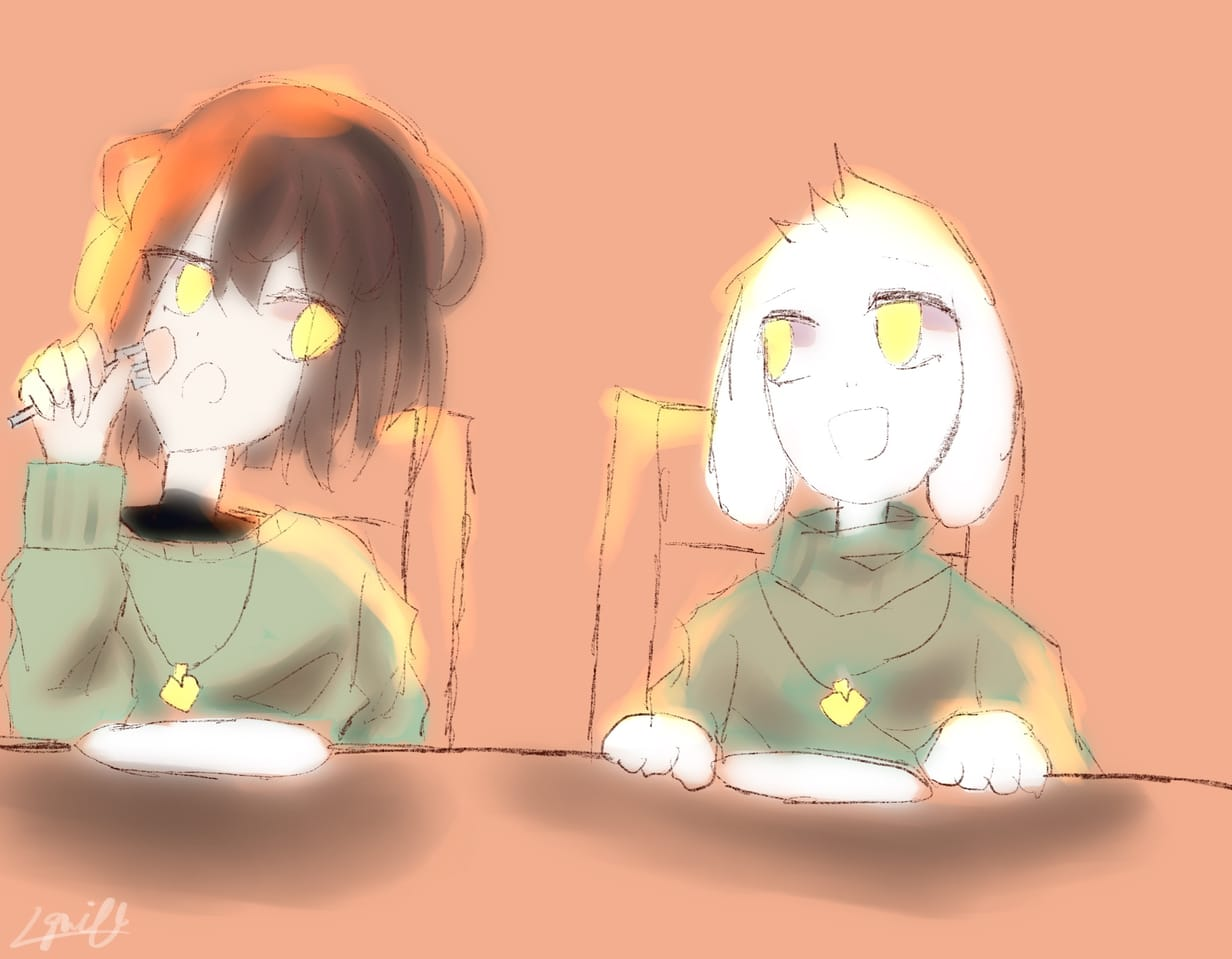 Snack time! Illust of 𝕀𝕘𝕟𝕚𝕥𝕖𝕊𝕦𝕟 ☺︎ Chara fanart Asriel undertale procreate