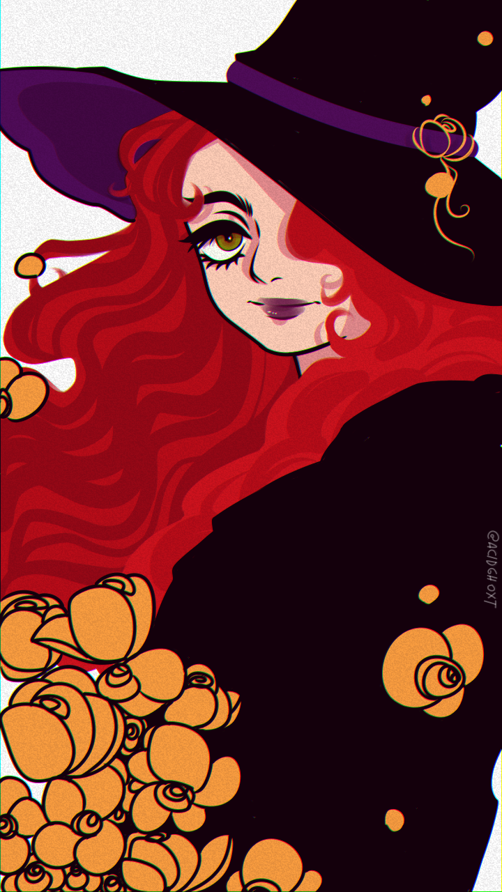 Witch Illust of Ryou medibangpaint witch iPad_raffle flowers illustration digitalillustration