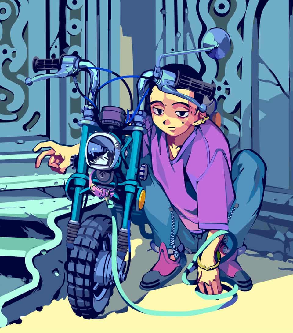 天獄の階段前で Illust of 吉村 sci-fi Kyoto_Award2020_illustration cyberpunk 異世界 天国 坊主 boy 坊主カット