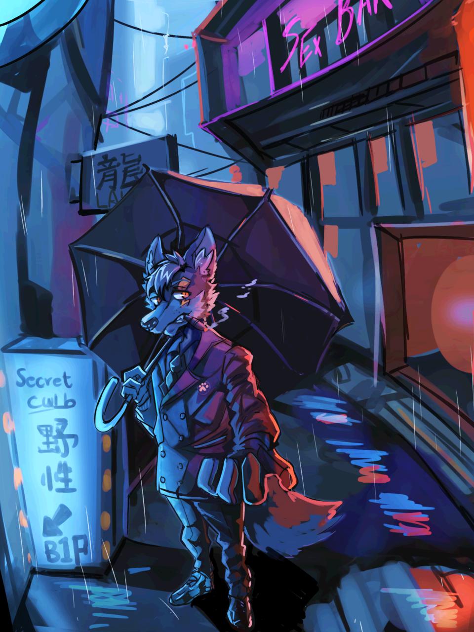 大人的秘密結社 Illust of 肯尼吉 MySecretSocietyContest furry wolf 獸人 background cyberpunk