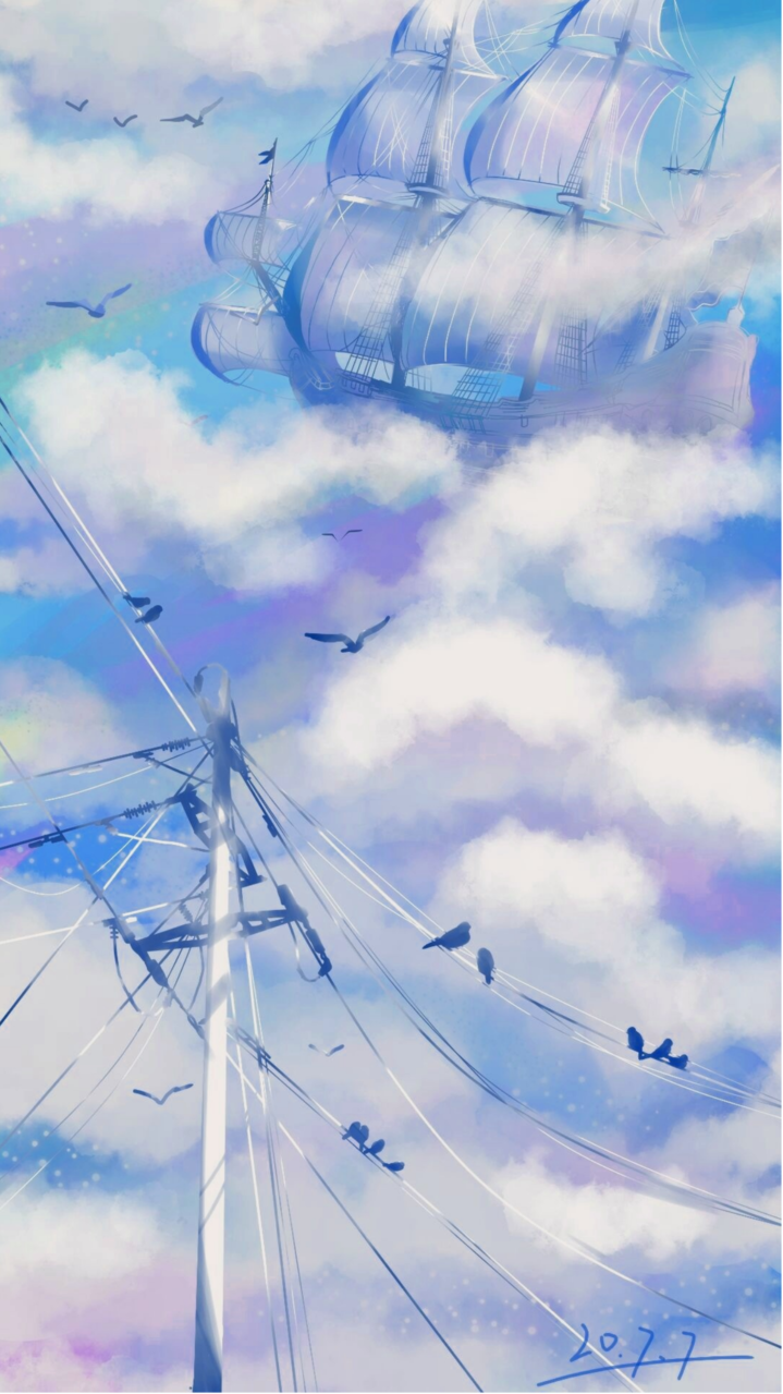 风船 Illust of Eoin_呱唧 medibangpaint sky blue clouds 船 birds