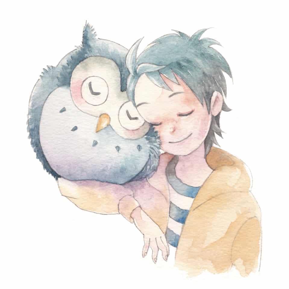 なかよし Illust of フジカワ フクロウ watercolor ふくろう boy