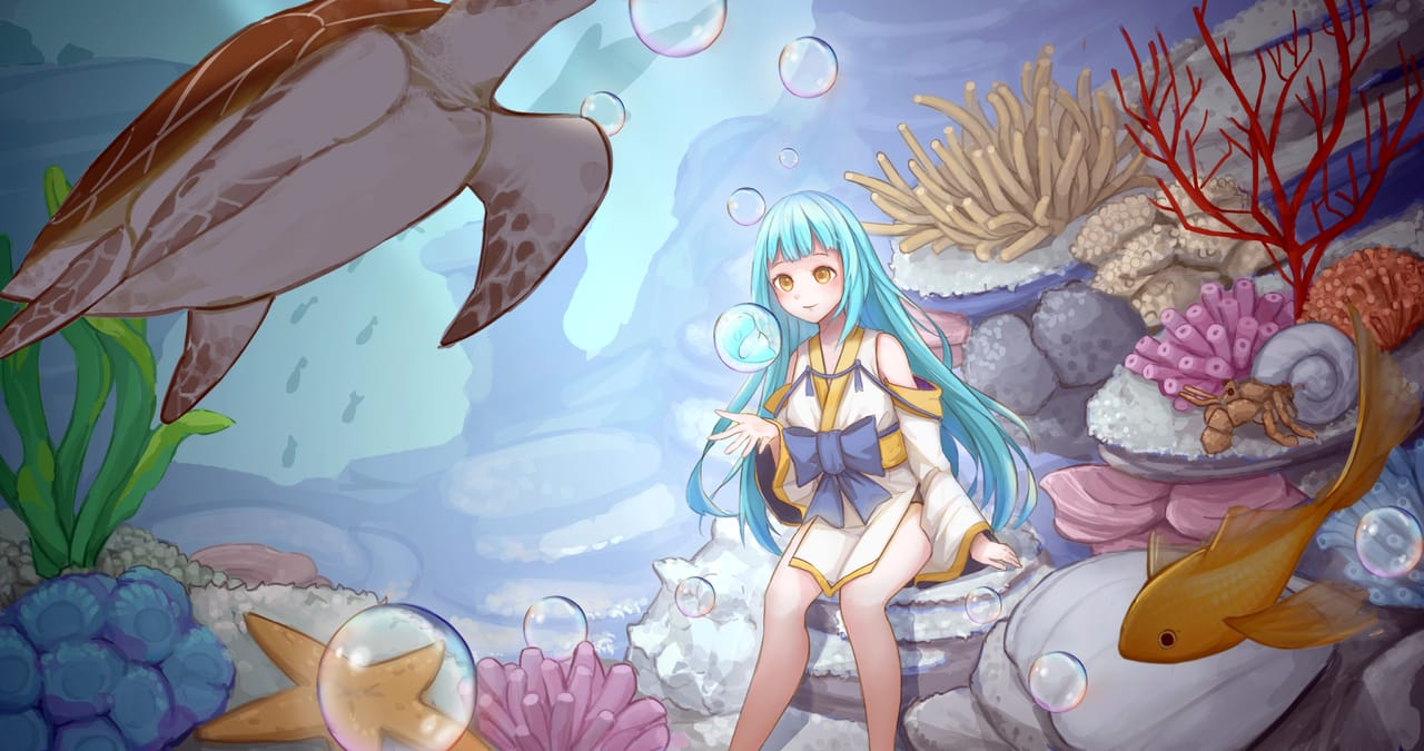 清海晨洋 Illust of 時千 February2021_Fantasy January2021_Contest:OC 海底 girl 珊瑚 fish