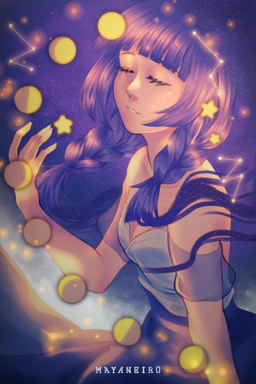 Moon Phase Illust of Mayaneiro galaxy moon dtiys constellation star space drawthisinyourstyle Starlight