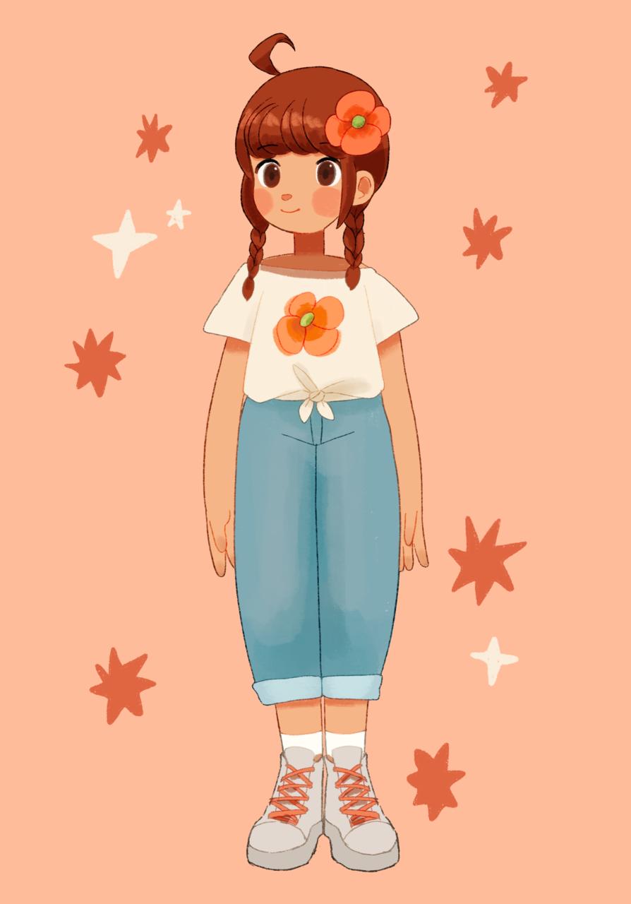お花Tシャツ Illust of proxima original girl flower fashion 三つ編み aesthetic oc