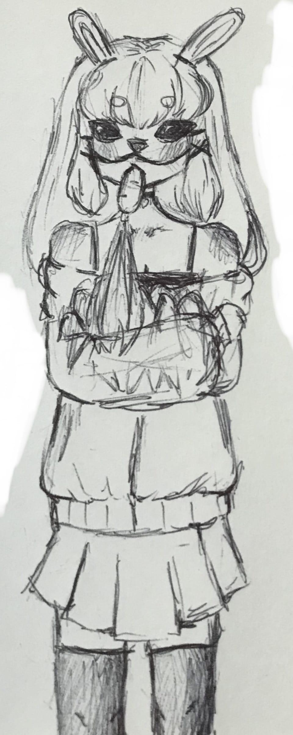 nom nom Illust of AnonymouseSaysHoooi pen sketch daily_doodlez traditional_art bunny gorl