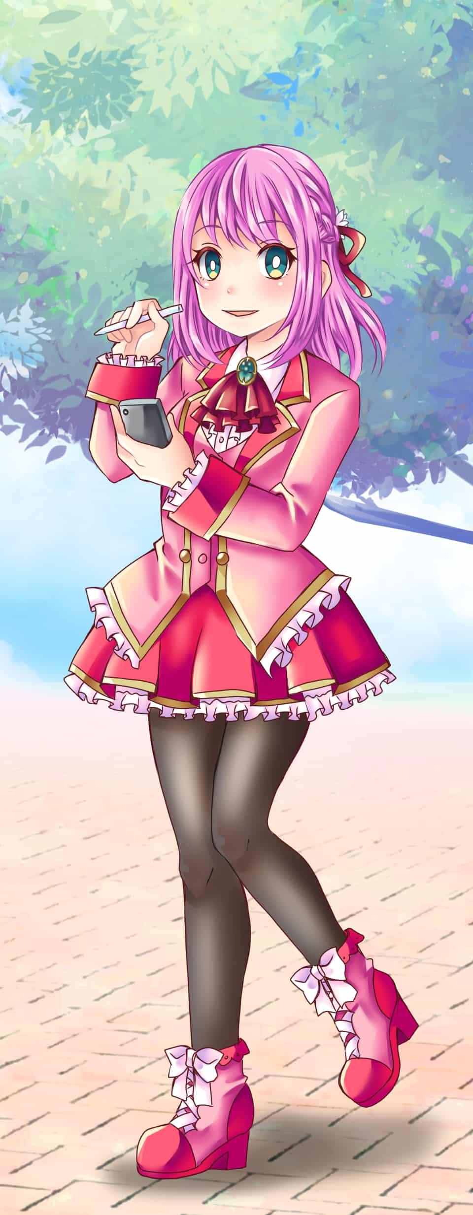 PINK Illust of ひらい祐夢 PASTEL_SKETCH2020 original girl pinkhair pink
