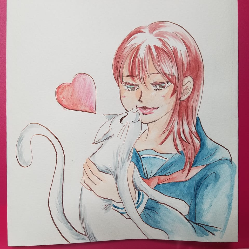 おみそさんからのお題 その② 🐱💋😊 Illust of おかかうめ アナログ cat girl