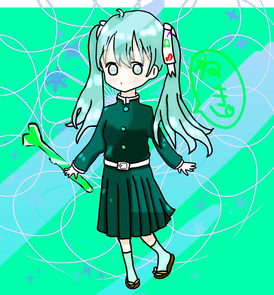 ミクちゃん spicaちゃんより Illust of 冬路くじら hatsunemiku twin_ponytails 雪ミク snow medibangpaint girl KimetsunoYaiba アレンジ kawaii