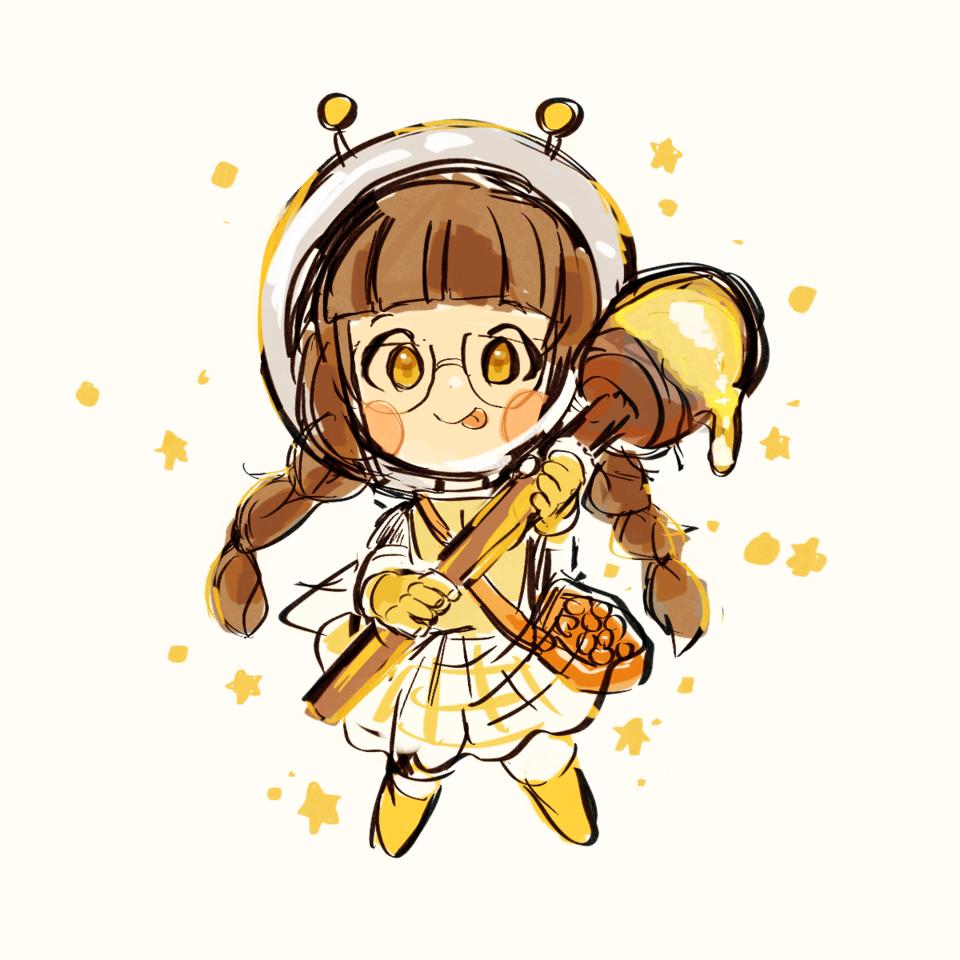 space bee girl🐝🍯 Illust of proxima 三つ編み デフォルメ はちみつ food original glasses bee yellow