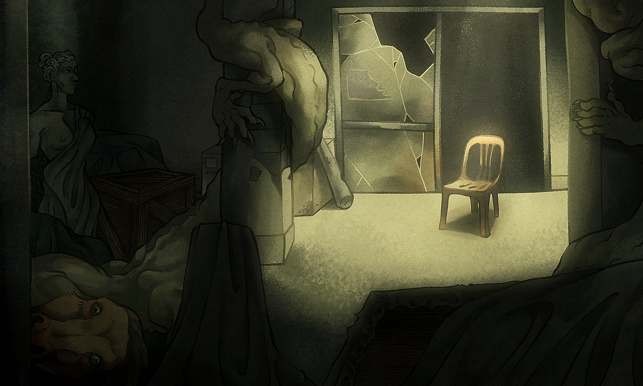 A chair Illust of Scotty horror August2020_Contest:Horror monster eerie Spooky originalart beast atmosphere Spook creepy