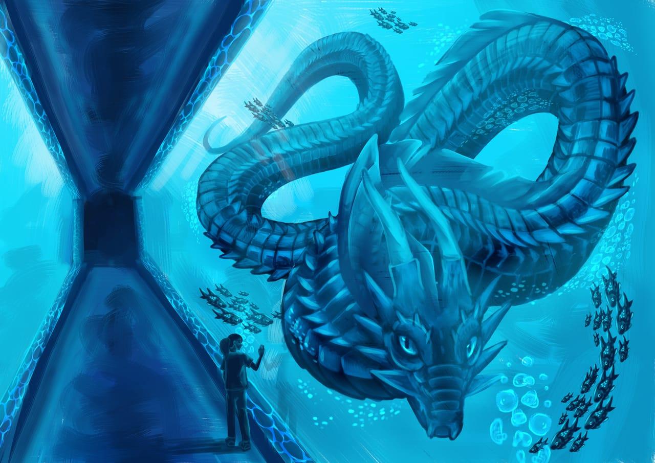Encounter Illust of Layla Maine Lune fantasy March2021_Creature underwater blue aquarium creature sea bluelighting serpent ContestEntry
