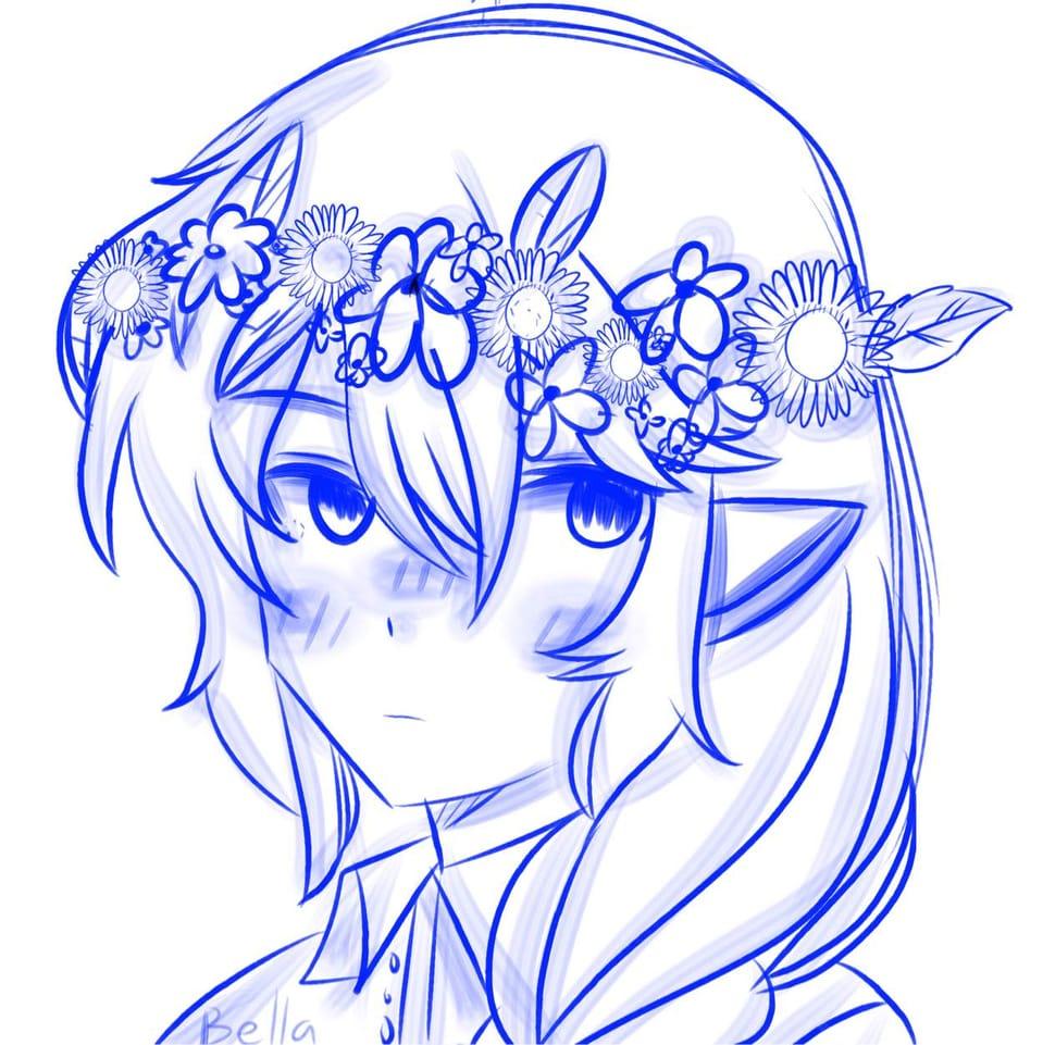 Flowers For The Blood God Illust of ꜱᴀᴘᴘʏʙᴇʟʟᴀ • ꜱᴀᴘɴᴀᴘ ᴍᴏᴅᴇ©️ WIP blue technoblade Flowercrown MCYT flowers DreamSMP Techno :D