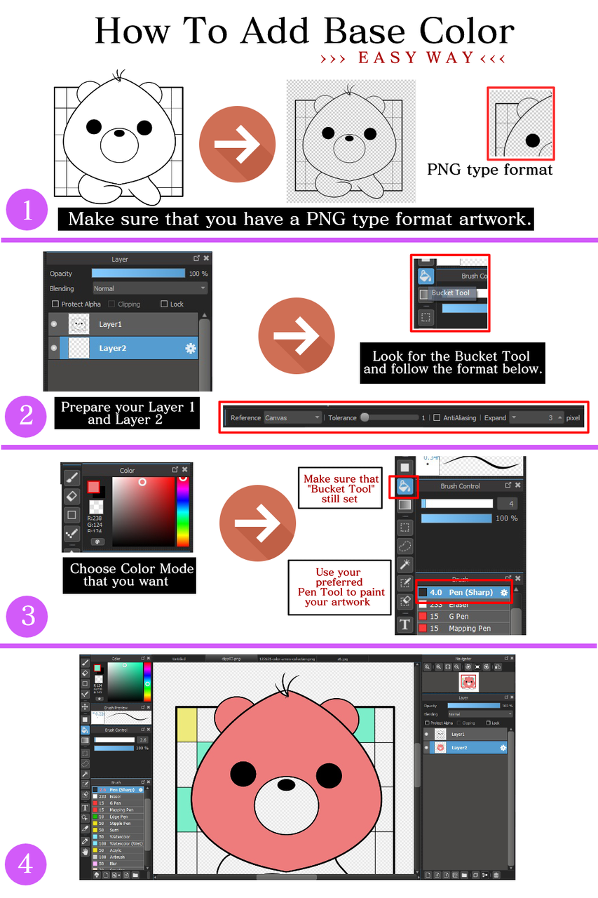 How To Add Base Color Using Medibang