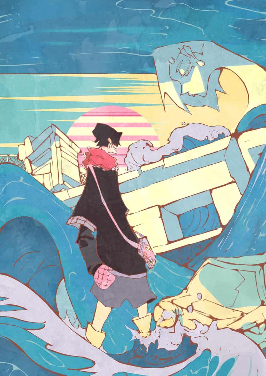 Tsunami🌊 Illust of Jojodoboro August2020_Contest:Horror waves illustration Tsunami oc Ukiyo-e