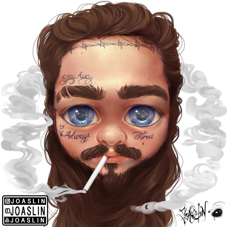 Post Malone Illust of JoAsLiN ARTstreet_Ranking art Postmalone fanart eyes boy original illustration smoke oc cute