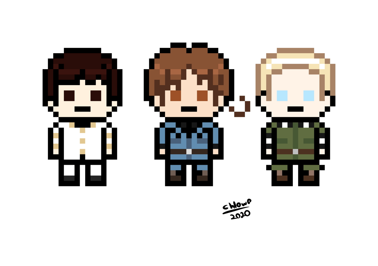 The Axis as Danganronpa Sprites [APH/DR] Illust of chlOwOan ルートヴィッヒ 本田菊 フェリシアーノ・ヴァルガス