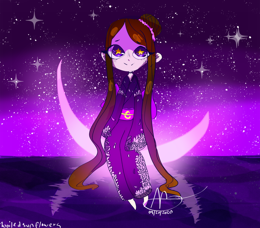galaxys cutest contest! Illust of boiledsunflowers moon GalaxysCutest kimono purple oc anime CLIPSTUDIOPAINT white_hair galaxy medibangpaint