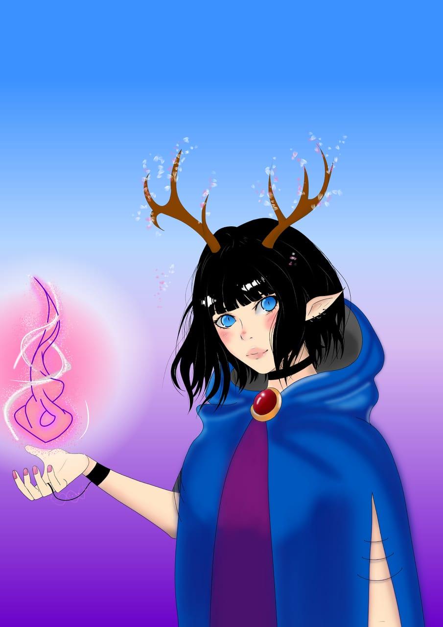 Spring deer Illust of zozo fantasy February2021_Fantasy March2021_Creature cute fanart contest creature