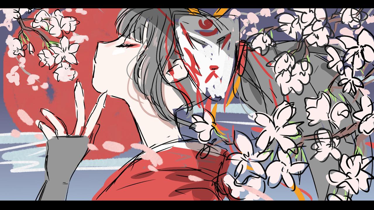 アカリと桜 Illust of nora sakura 横顔 アカリ LeagueofLegends LOL kimono 花見 akari
