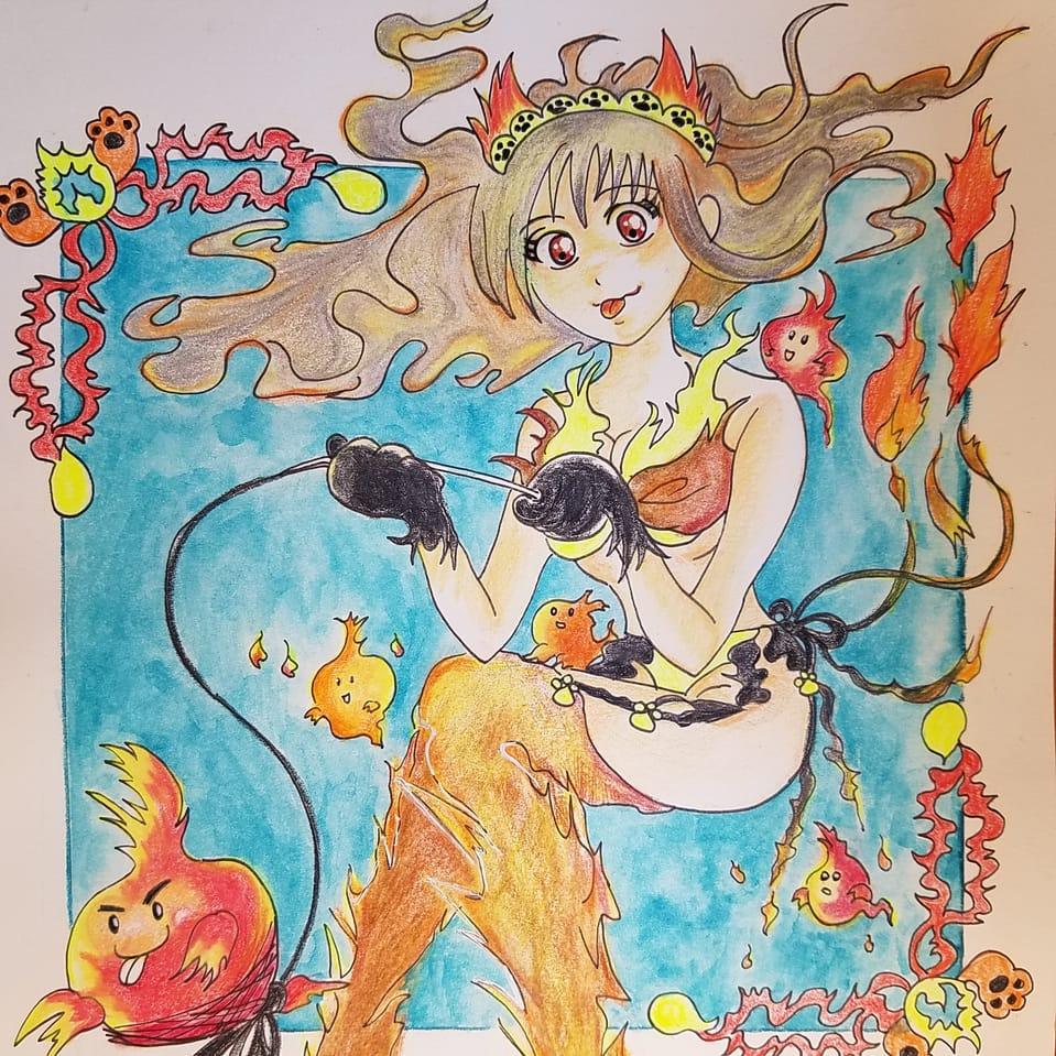 ねこまた?はてな Illust of おかかうめ アナログ coloredpencil kawaii original girl 水彩色鉛筆 oc