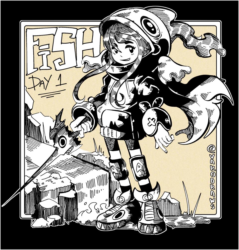Fish girl Illust of VakoDraws character drawing characterdesign original illustration Inktober manga