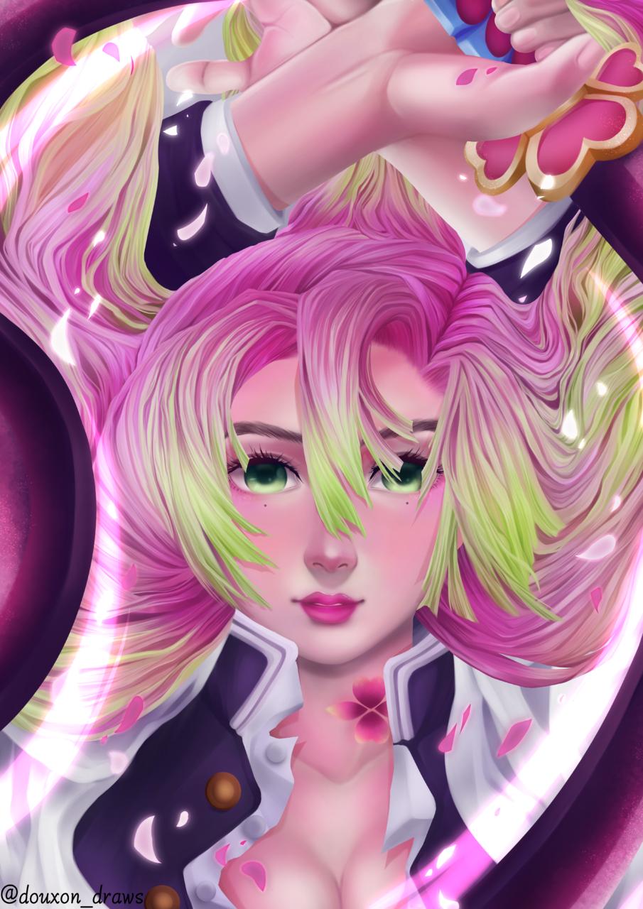 Mitsuri Kanroji Illust of DouXoN MyIdealWaifu_MyIdealHusbandoContest MyIdealWaifu animefanart KanrojiMitsuri KimetsunoYaiba pink hashira sakura mitsuri lovehashira fanartanime