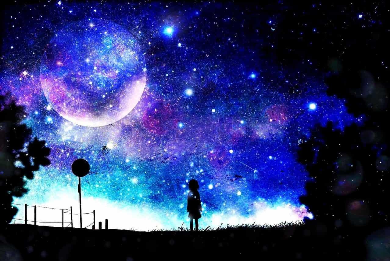 青の世界 Illust of ぽぽうどん 夜空 blue 風景画 star starry_sky scenery