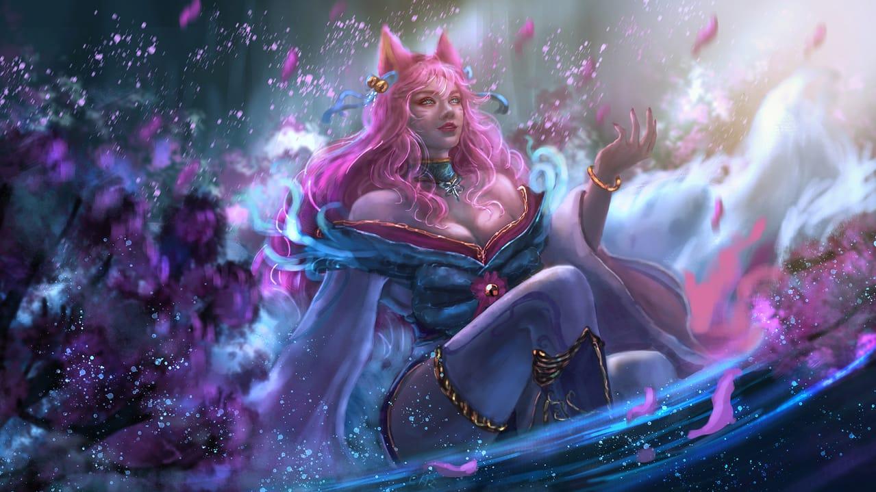 LOL-SPIRIT BLOSSOM:AHRI Illust of CHI-NAI illustration fanart LeagueofLegends eyes game female 英雄聯盟 hair Ahri