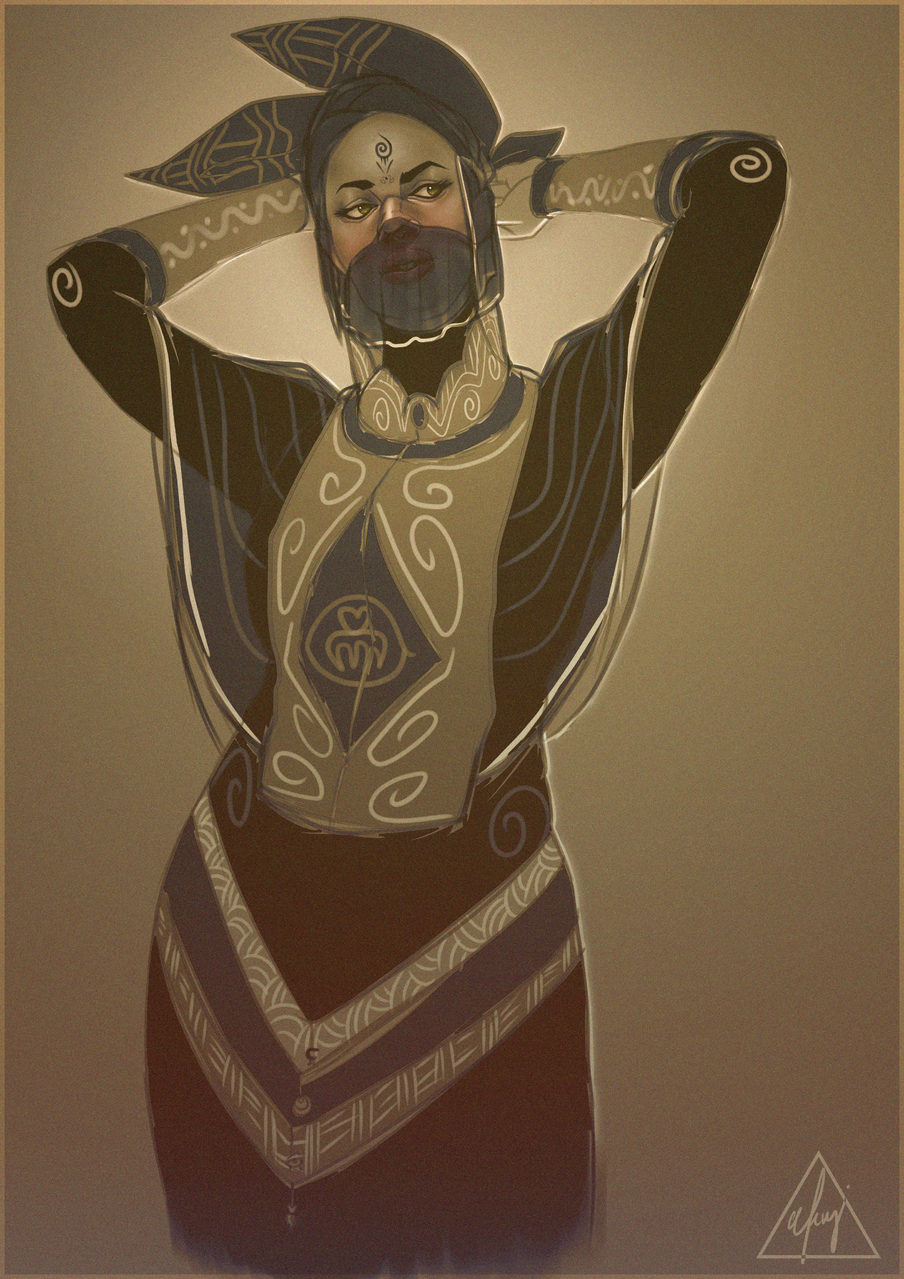 WIP (Skin Tight) Illust of Afenyi Afenyi fantasy tribal melaninmagic artoftheday WIP african sketch Girlpower characterdesign illustrations