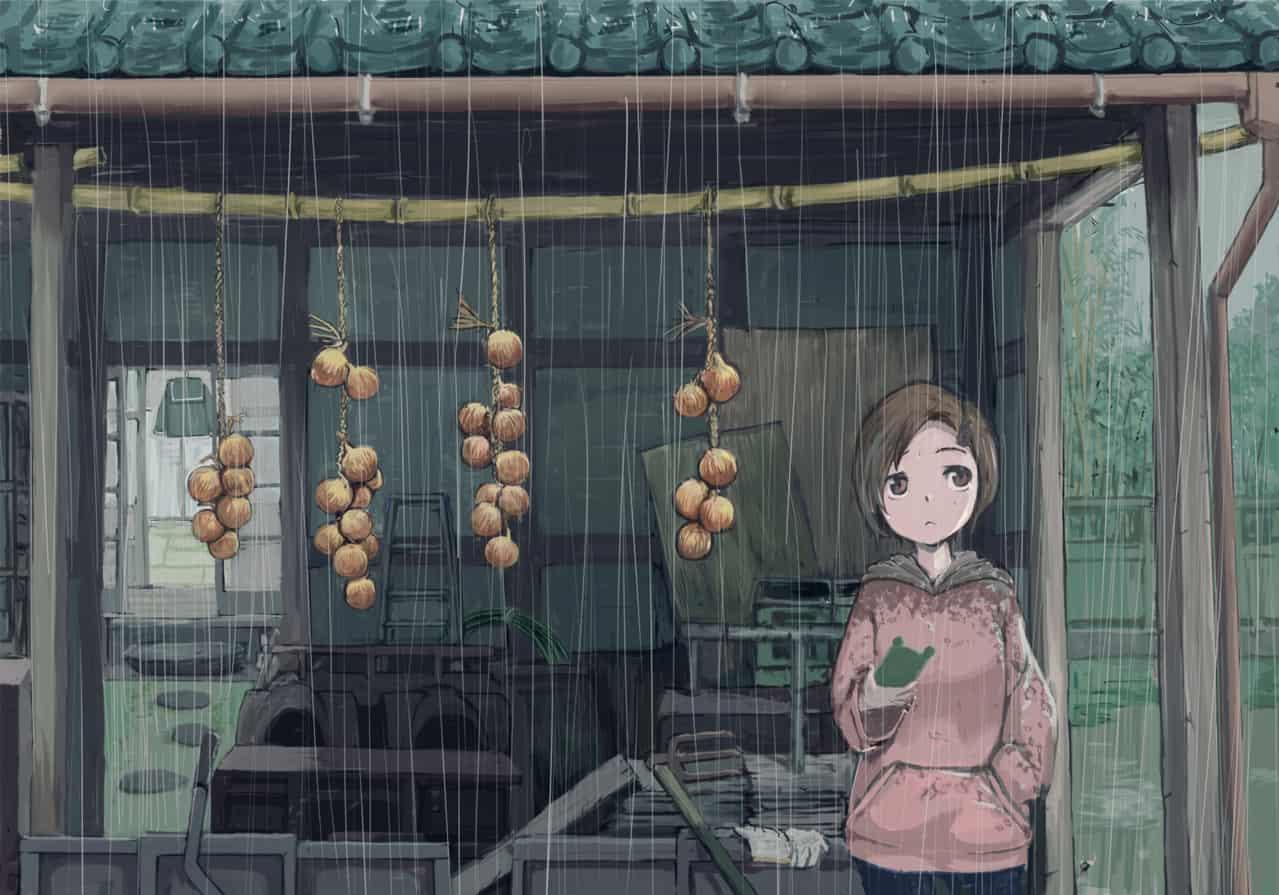 雨の日 Illust of 欠 rain girl scenery original