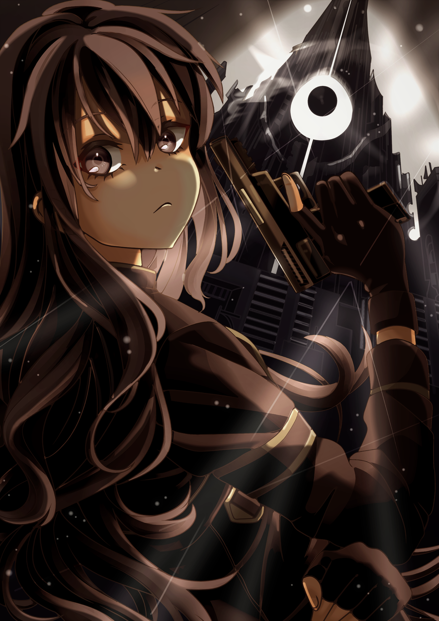 Kirito GGO Illust of Akira Luca digital fanart longhair Kirito light dark Gun Sword_Art_Online cool