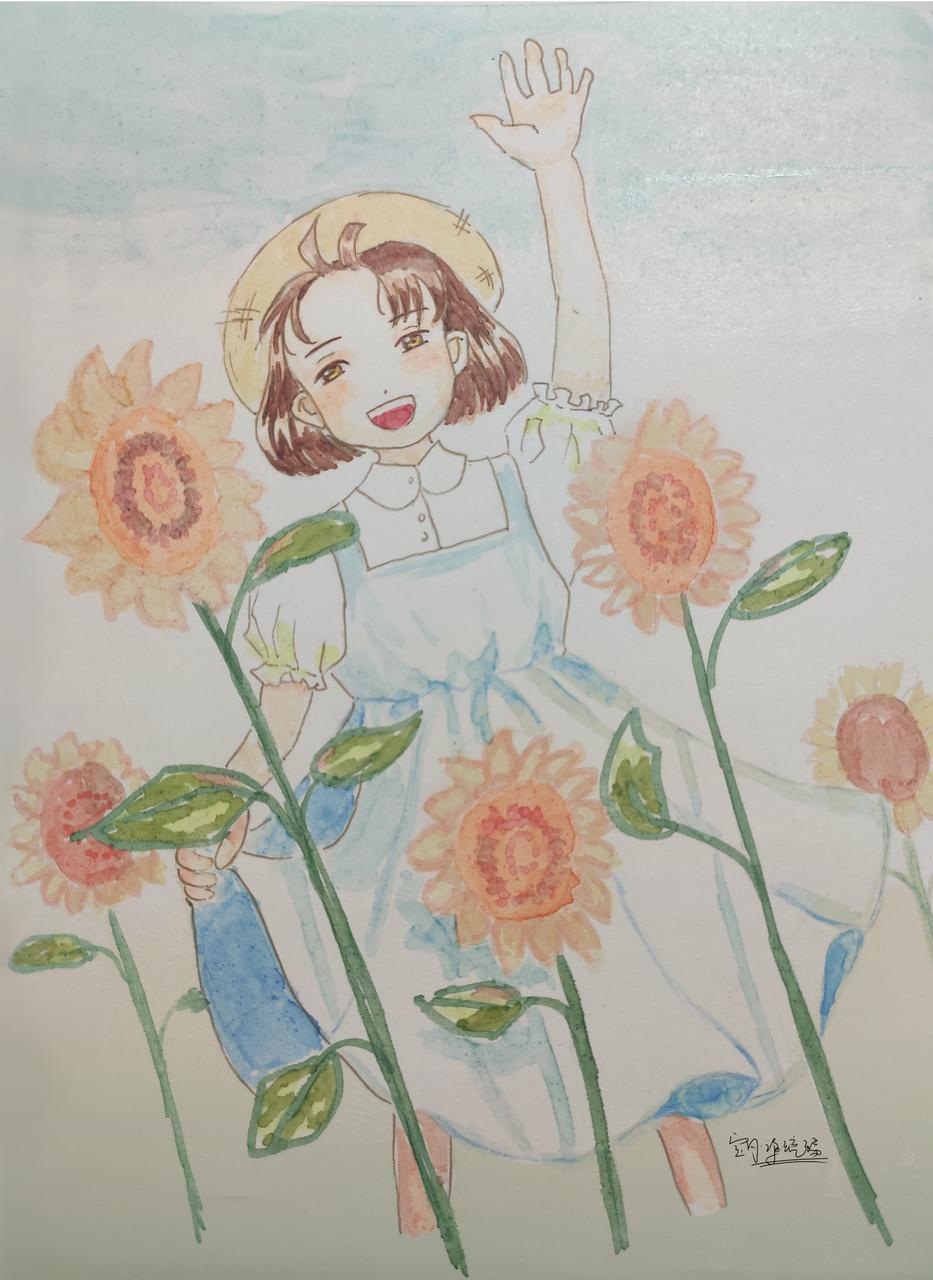 向日葵的回忆 Illust of 宝月·净琉璃 April2021_Flower handdrawn original 板绘修饰 马克笔 向日葵 回忆