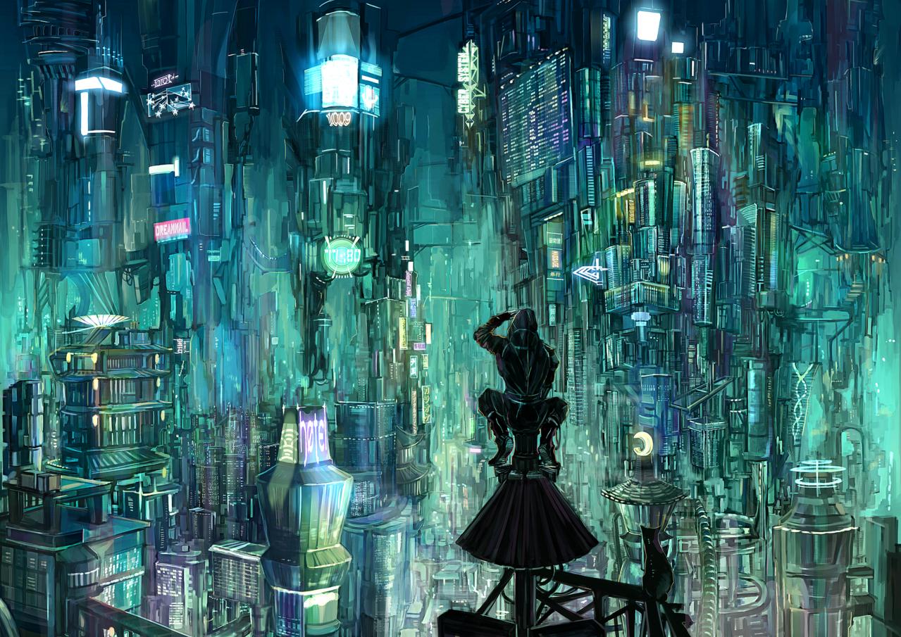 cyber punk Illust of MM sci-fi November2020_Contest:Cyberpunk digital 建物 night 近未来 ネオン