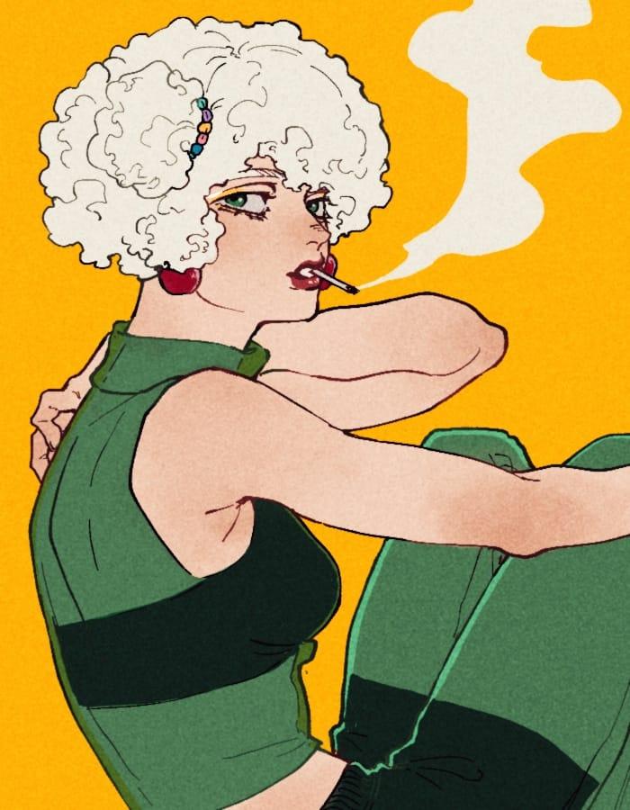クリームソーダ Illust of off(百舌) girl Personification colorful 擬人化イラスト レトロ クリームソーダ tobacco