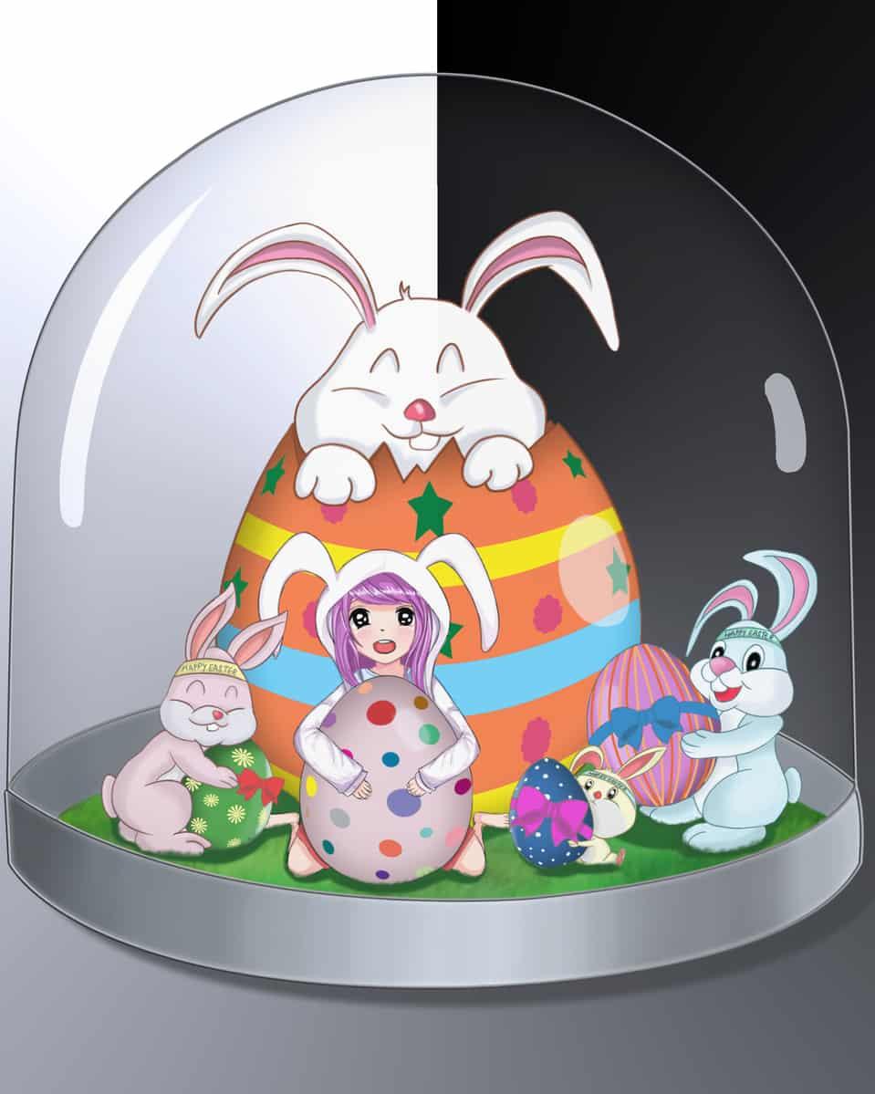 Easter present (イースタープレゼント) Illust of brave john April.2020Contest:Color Original_Illustration_Contest ARTstreet_Ranking March.2020Contest:Easter medibangpaint easterbunny CLIPSTUDIOPAINT gift cutegirl kawaii anime easter egg bunny
