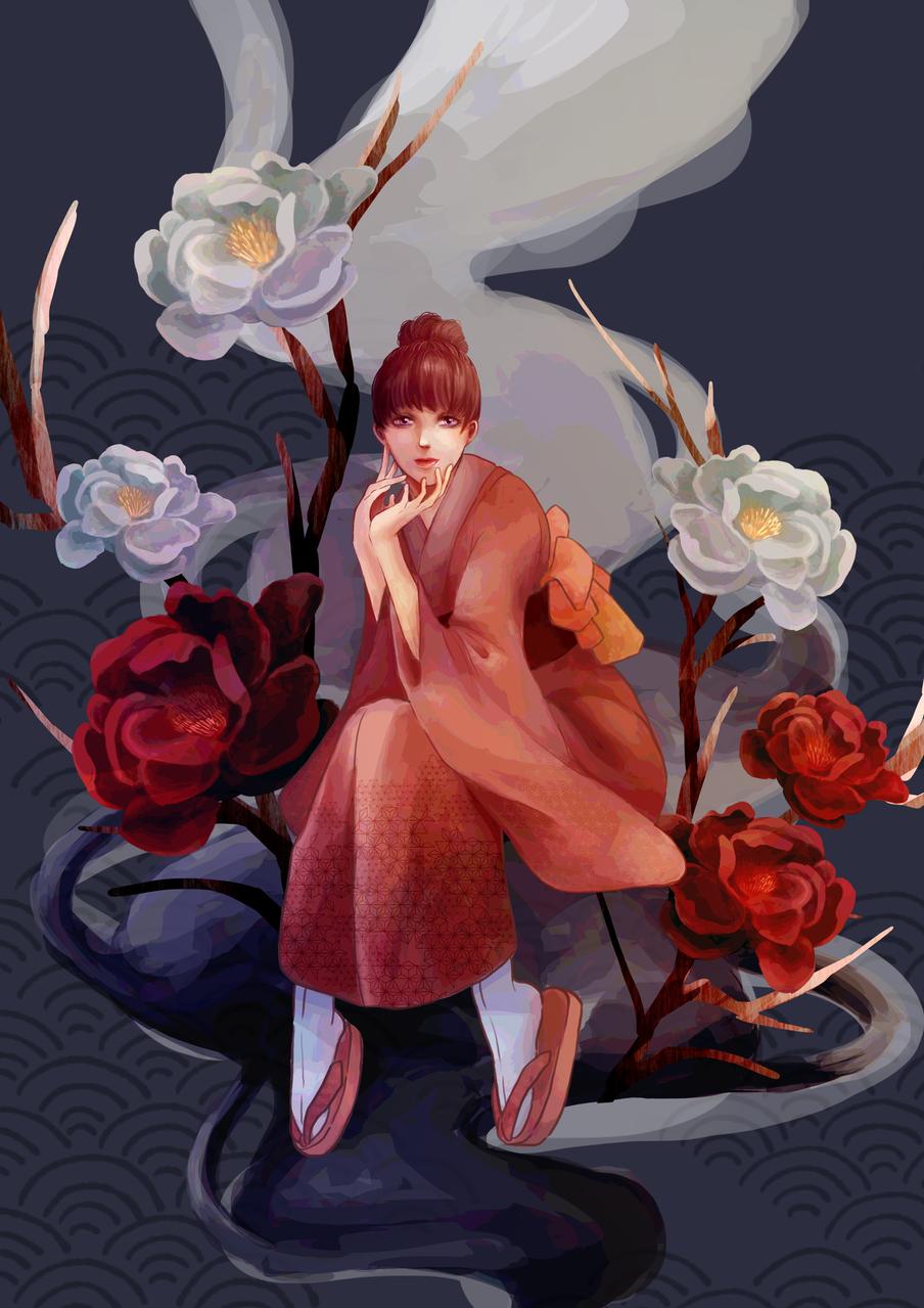 嫣 Illust of Maki Kyoto_Award2020_illustration kimono