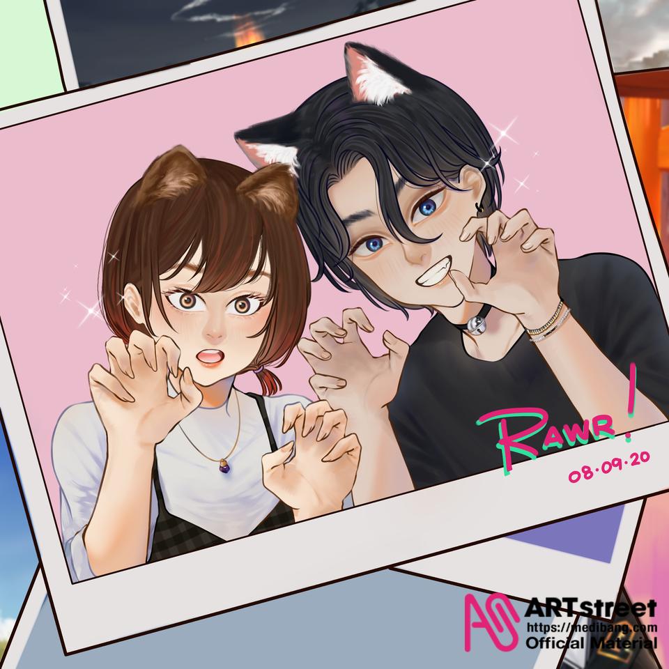 Polaroid  Illust of Laiwa tracedrawing3rd cat_ears drawing Artwork kawaii original illustration Trace&Draw【Official】 artist cute