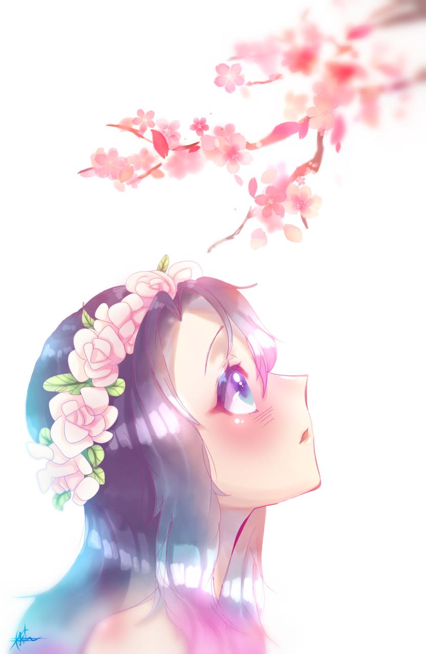 blossom Illust of Qiya Art April2021_Flower medibangpaint sakura animegirl original Blossom