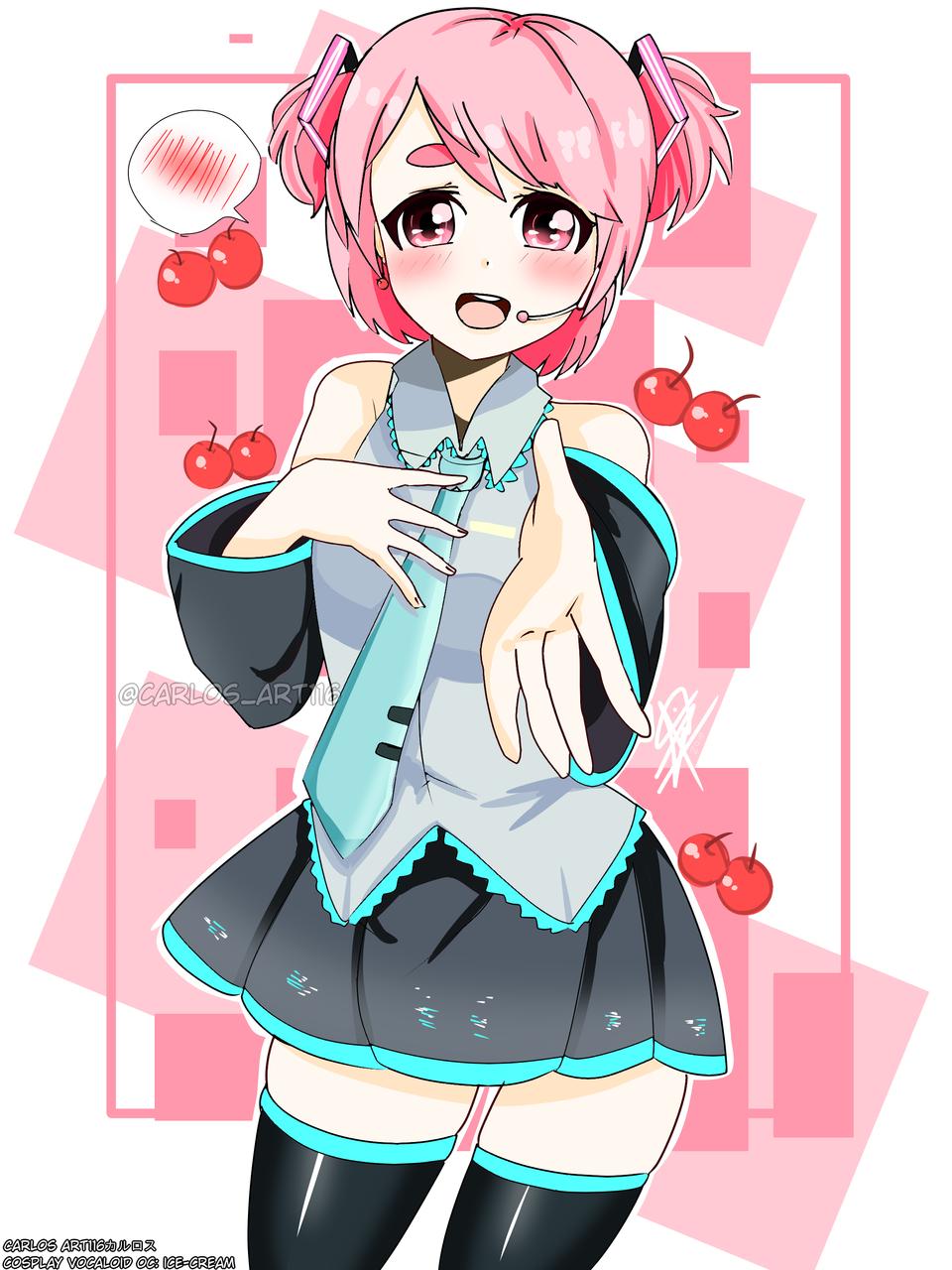 oc:ice-cream: cosplay de Hatsune Miku ( ꈍᴗꈍ)