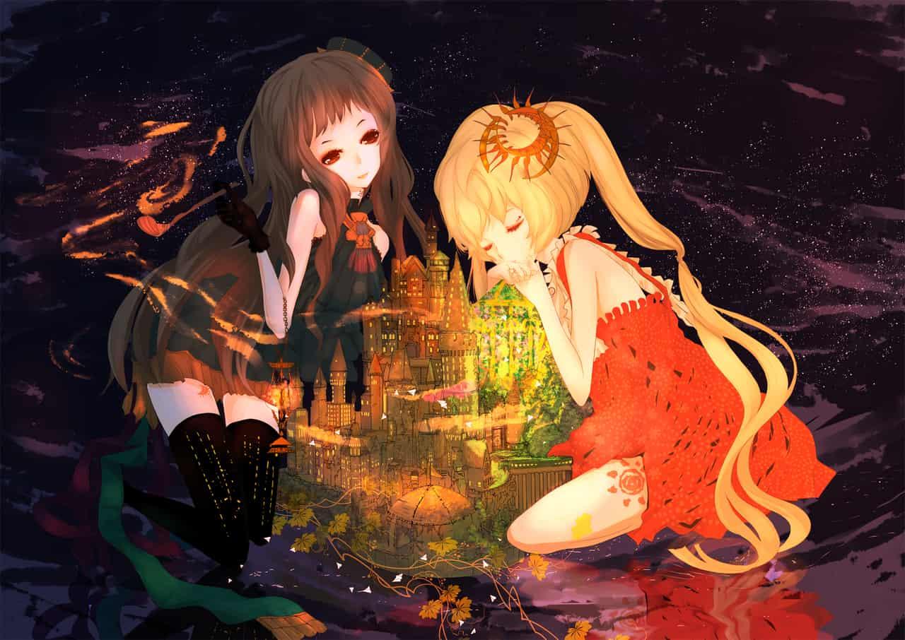 日夜 Illust of UⅡ 城堡 girl 日 night 煙斗