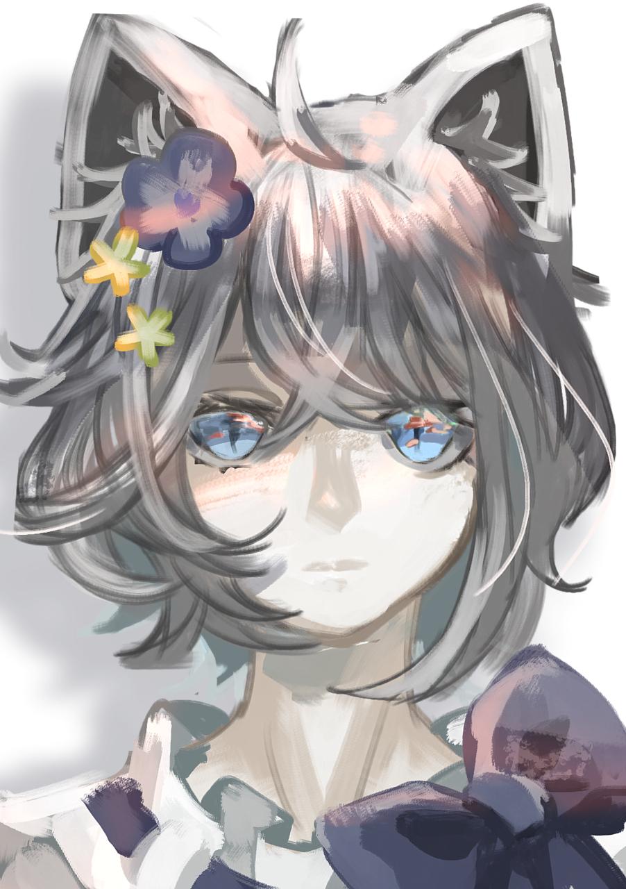 落書き Illust of Comuno original cat_ears oc doodle 銀髪