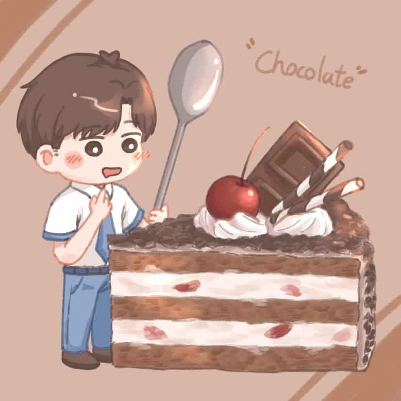 好吃黑森林蛋糕 Illust of vickypon October2020_Contest:Food food chibi cake boy