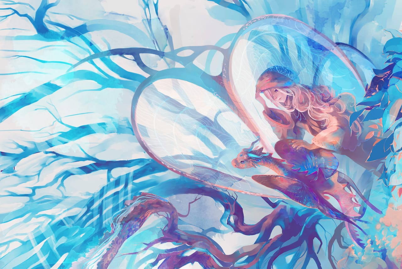 ForesTale (MoriTale) Illust of Lear mystery ART_street_Illustration_Book_Contest February2021_Fantasy dragon forest wonderland magic female Portal