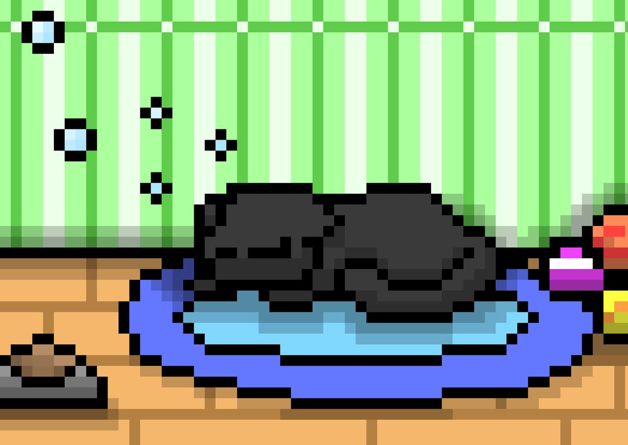 Lazy Kitty Illust of Blackkitty medibangpaint