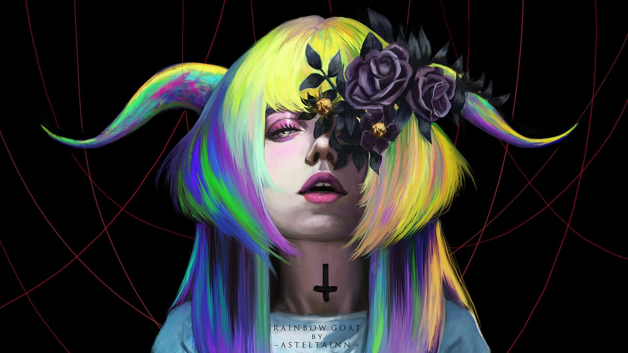 Rainbow Goat Illust of asteltainn portrait demon oc