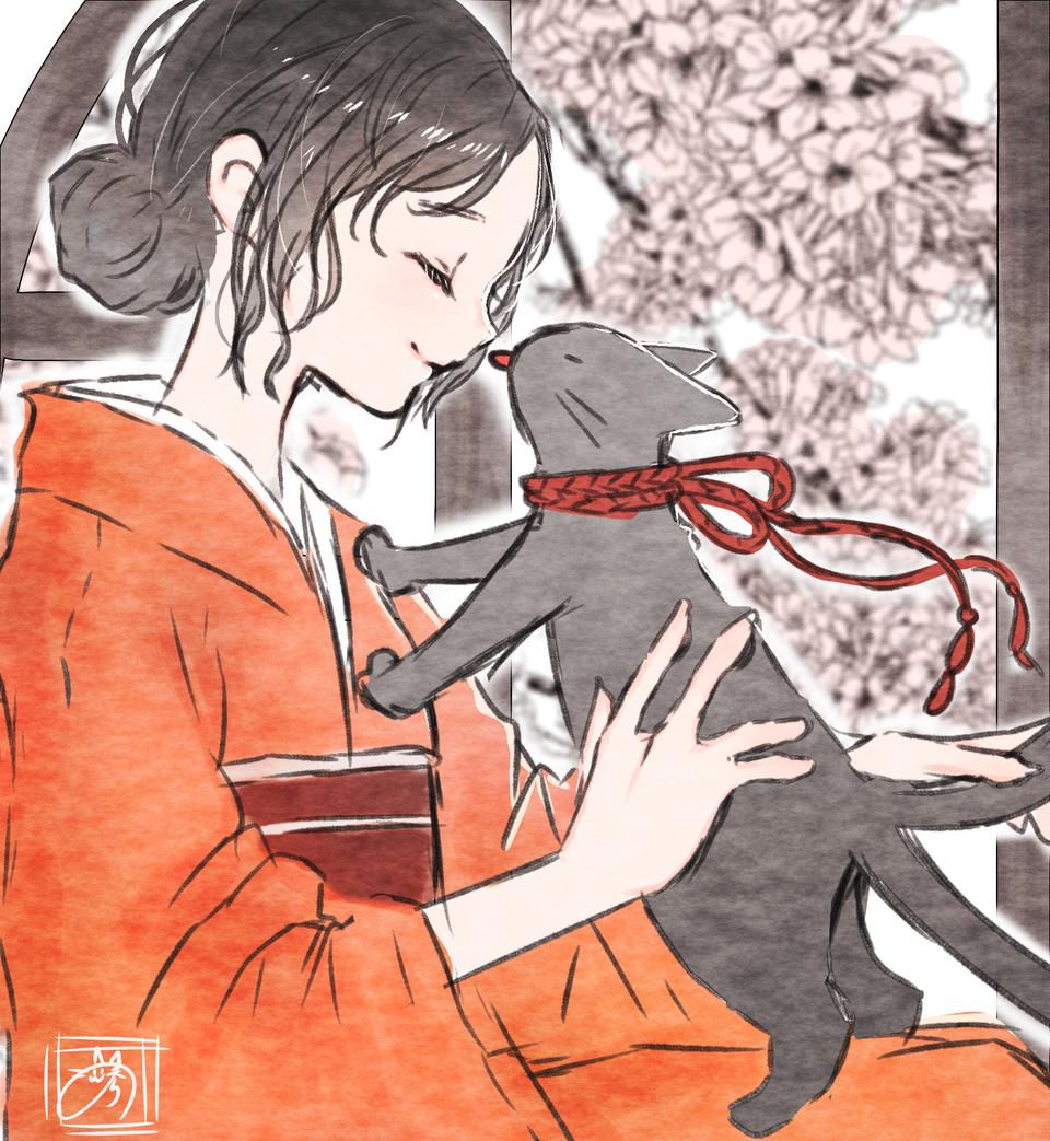 猫又 Illust of nora kimono cat girl 横顔 レッツワンドロ
