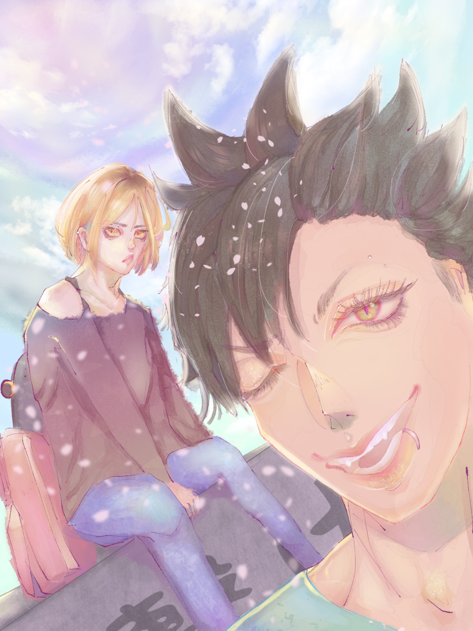 KUROKEN Illust of macchizume illustration KenmaKozume Haikyu!! animeboy pastel digital drawing kuroo Kenma commission
