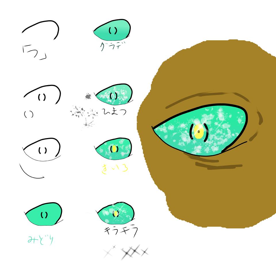 蛙もしくは怪物の目 Illust of sanzame The_Challengers monster メイキング 目イキング tutorial Frog